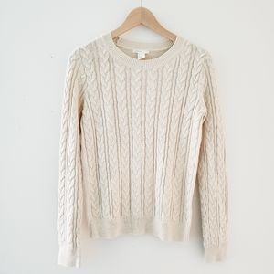 H&M Cream Cable Knit Braid Sweater Top Size Small